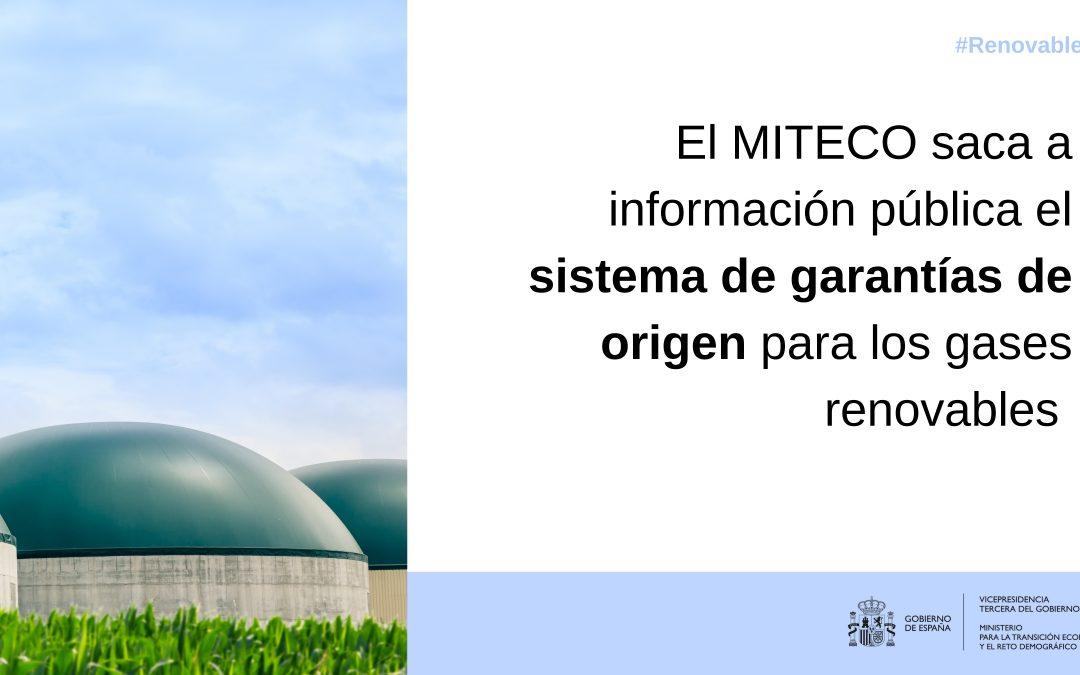 El MITECO saca a información pública el sistema de garantías de origen para los gases renovables